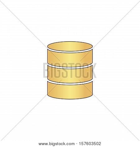 Database Gold vector icon with black contour line. Flat computer symbol