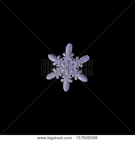 Snowflake isolated on black background: macro photo of real snow crystal, captured on glass. This snowflake contains unusual and rare pattern of heart-shaped elements, connected to central hexagon (pink lighting variant).