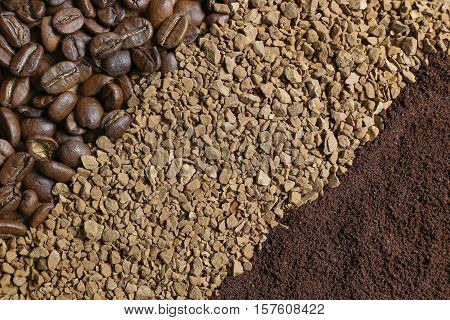 Three types of coffee in the form of diagonal strips: coffee beans ground coffee instant coffee
