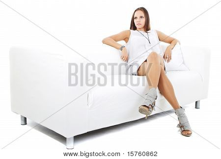 Young Cute European Girl Over White Background