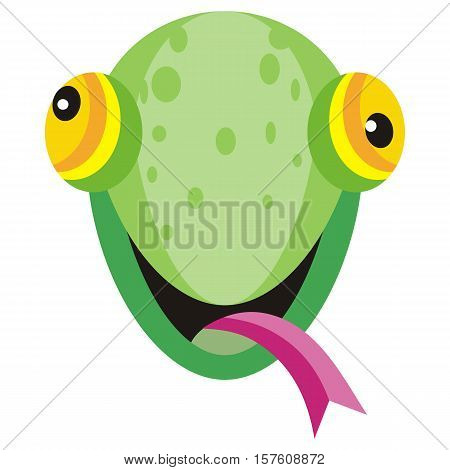 Lizard cartoon sticker. Widespread squamate reptile happy face. Funny sticker icon for children. Wildlife educational concept. Mask for masquerade, holiday, festival, halloween. Vector illustration