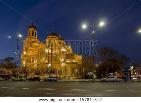 The Cathedral of the Assumption in Varna. illuminated at night.one of the landmarks of Varna Bulgaria.