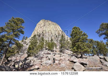 Devils Tower, Top Attraction In Wyoming State, Usa.