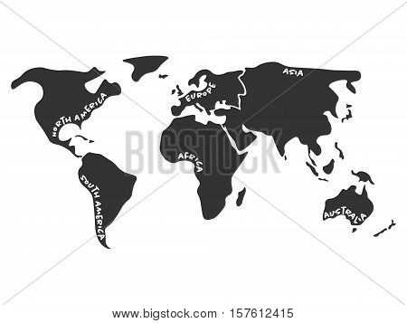 World map divided to six continents in dark grey - North America, South America, Africa, Europe, Asia and Australia Oceania. Simplified silhouette  with continent name labels curved by borders.