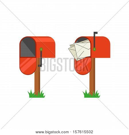 Red mailbox with and without letters. Open empty mailbox flat design vector icon.