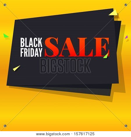 Black Friday sale, black banner with flying, colored confetti on bright yellow background with twisted at the corners with screws