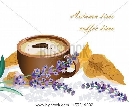 Cup of coffee, lavender and autumn leaf isolated. Seasonal cookies and morning coffee concept. Vector illustration