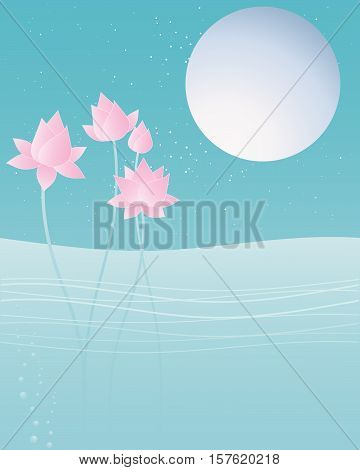 an illustration of pink lotus flowers on water with a big silver moon and stars in a greeting card format with a blue night sky