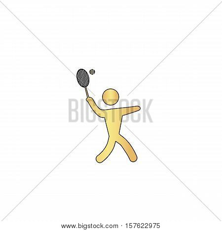 tennis Gold vector icon with black contour line. Flat computer symbol