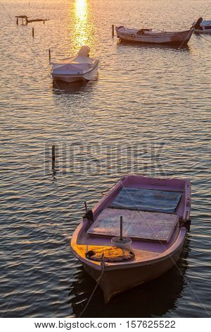 Sunset Scene With Boats, Corfu