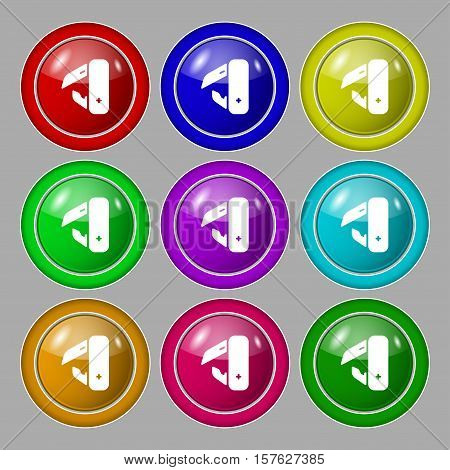 Knife, Picnic Icon Sign. Symbol On Nine Round Colourful Buttons. Vector