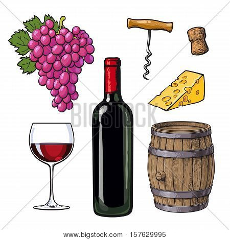 Wine set of bottle, glass, barrel, grapes, cheese, cork and corkscrew, sketch vector illustration isolated on white background. Hand drawn wine barrel, glass, grapes and bottle, corkscrew and cheese