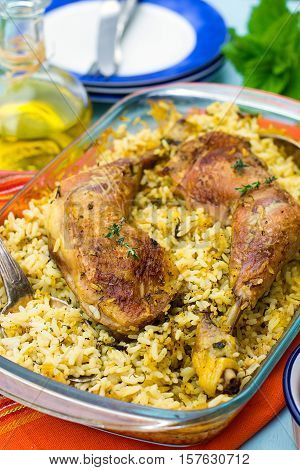 Chicken legs with saffron rice herbs and spices