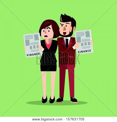 Business man and woman bad finance illustration design