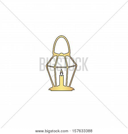 Lantern Gold vector icon with black contour line. Flat computer symbol