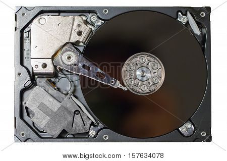 View of a Magnetic Hard disk drive uncovered