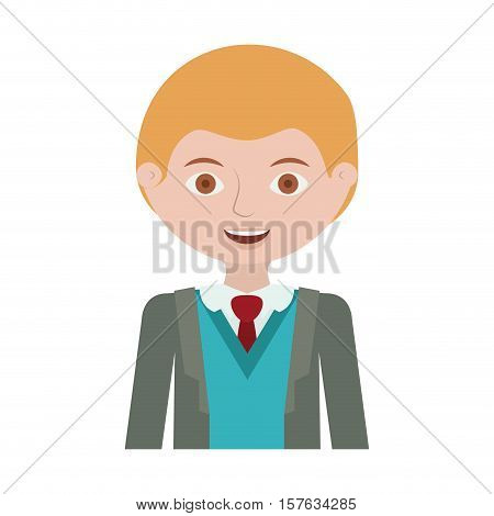 half body blond man with formal suit and business vector illustration