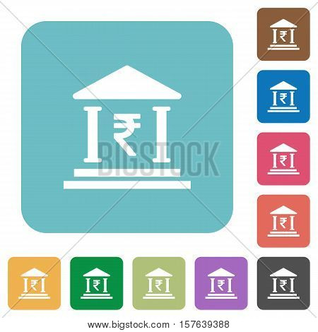 Indian Rupee bank flat icons on simple color square background.