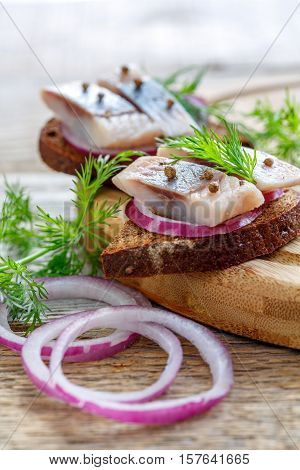 Red Onion And Herring On Rye Bread.