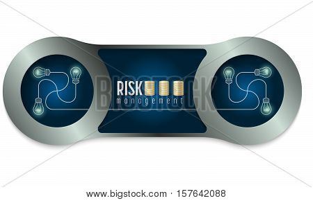 Two metal frames and the words risk management