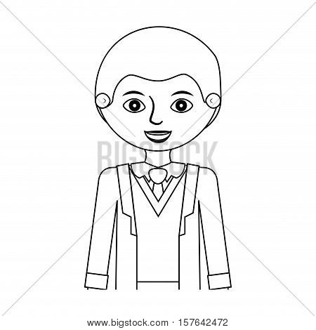 half body businessman silhouette and bowtie vector illustration