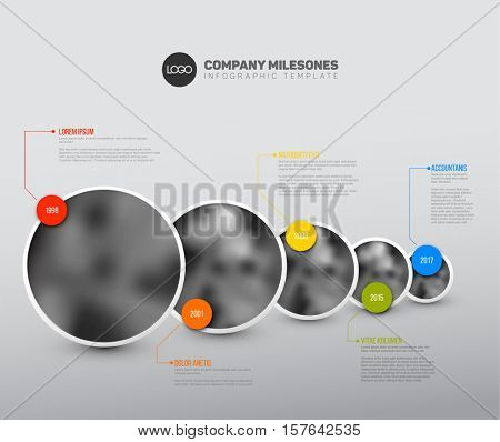 Vector Infographic Company Milestones Timeline Template with circle photo placeholders