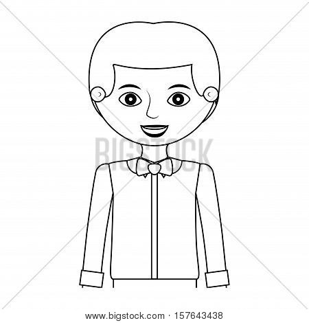 half body man silhouette with formal shirt and bowtie vector illustration