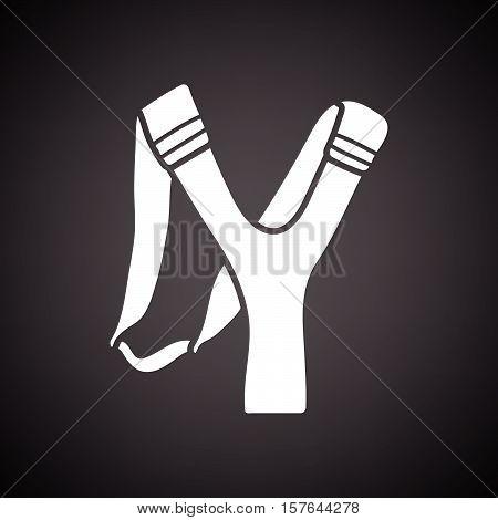 Hunting slingshot icon. Black background with white. Vector illustration.