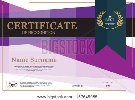 Certificate of achievement frame design template. vector