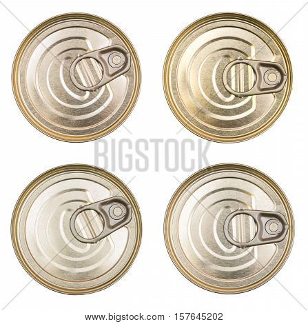 Cover of the tin cans. Top view of a can food isolated. The lid of a tin can. Food packaging. Metal containers for food.