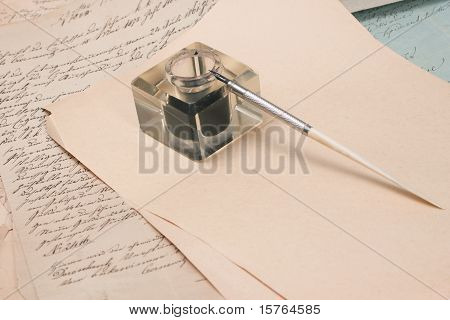 Vintage Background With Old Paper, Old Ink Pen, Handwrite Letters And Old Ink Pot