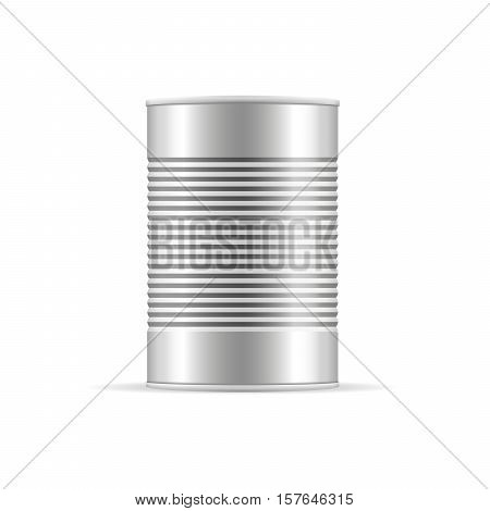 Metallic Ribbed Tin Can. Canned food. Mockup for your design. Product packaging vector illustration.