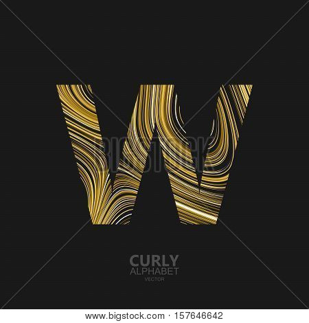 Curly textured Letter W. Typographic vector element for design. Part of marble or acrylic texture imitation textured alphabet. Letter W with diffusion lines swirly pattern. Vector illustration