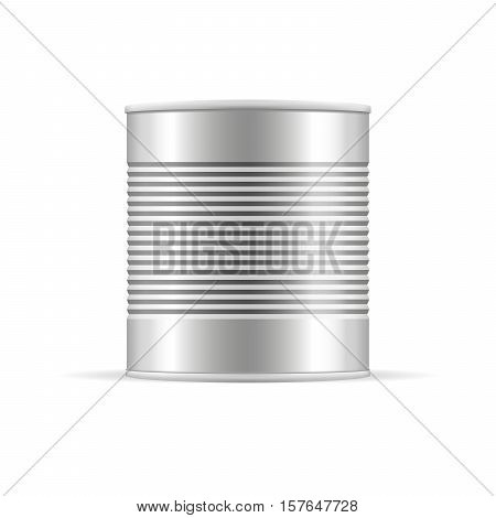 Ribbed metal tin can canned food. Mockup for your design. Product packing vector.