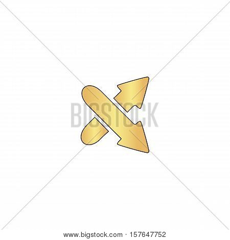 crossing arrow Gold vector icon with black contour line. Flat computer symbol