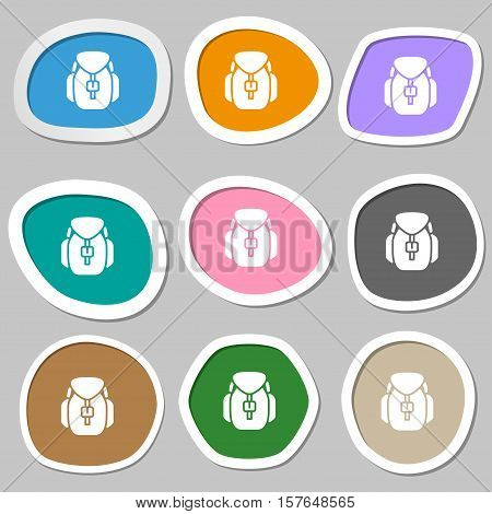 Backpack Icon Symbols. Multicolored Paper Stickers. Vector