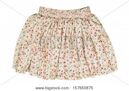 Summer floral skirt isolated on white background. Short mini skirt with flower design cut out on white.