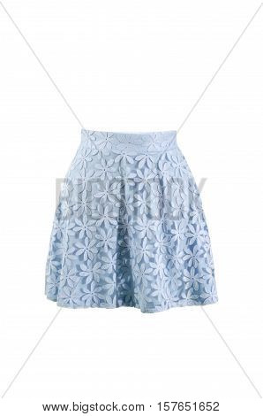 Summer floral skirt isolated on white background. Short mini skirt veil with flower design cut out on white.