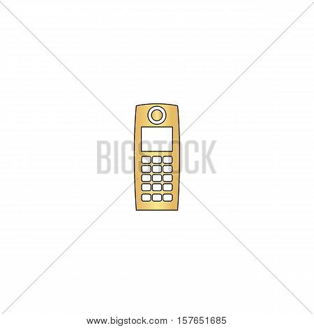 walkie talkie Gold vector icon with black contour line. Flat computer symbol