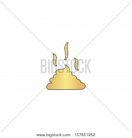 Poop Gold vector icon with black contour line. Flat computer symbol
