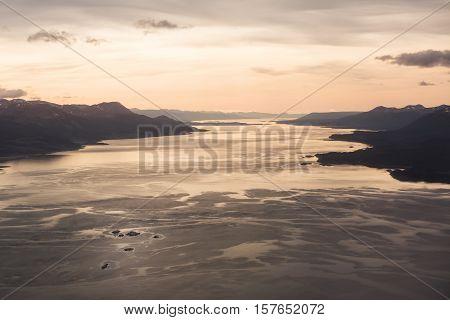 Sunrise on Beagle channel (Tierra del Fuego)