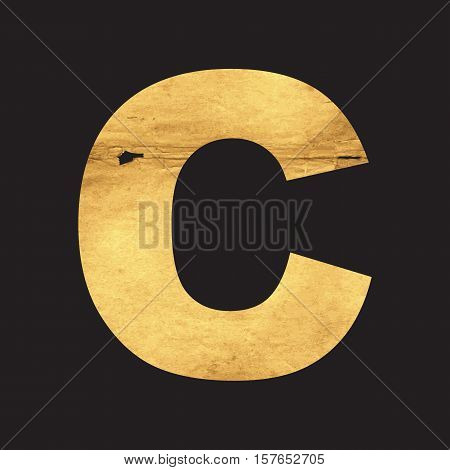 Uppercase letter C of the English alphabet carved out of the old paper on black vector