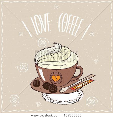Cup Of Coffee With Whipped Cream On Lacy Napkin