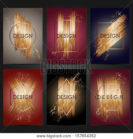 Collection of 6 vintage card templates with copper brushstrokes. For the wedding marriage save the date cards invitations greetings. Grunge retro design with copper paint.