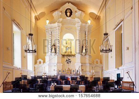 Chairs For Orchestra Musicians In The Interior Of The St. Dominic Church In Macau