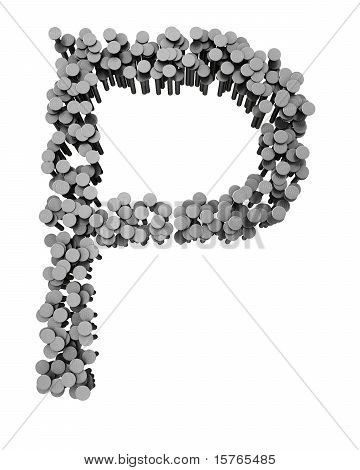 Alphabet Made From Hammered Nails, Letter P
