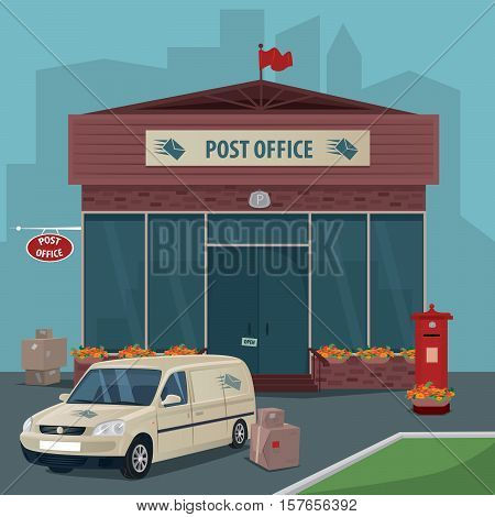 Exterior of modern post office. Near car of postal service boxes parcels and old red mailbox. Flat cartoon style. Express delivery mail concept. Cartoon style