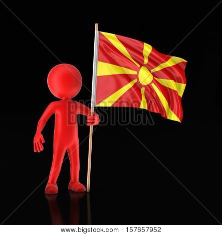 3D Illustration. Man and Macedonian flag. Image with clipping path