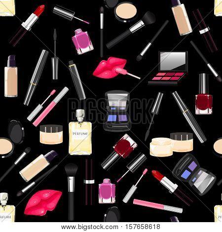 Makeup, Perfume, Cosmetics Seamless Pattern.