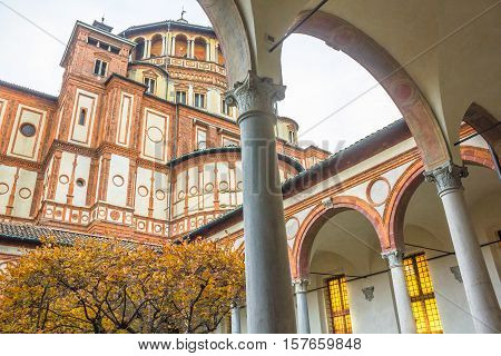 church Santa Maria Delle Grazie in Milan, Italy, from courtyard view. Hosting in it's refectory, The Last Supper mural painting by Leonardo da Vinci. side view